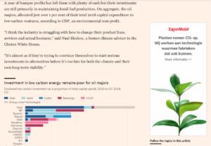 The Guardian heeft inmiddels fossiele reclame verbannen uit hun krant. Hier een advertentie van Exxon naast een artikel over de bijdrage van oa Exxon aan klimaatverandering.