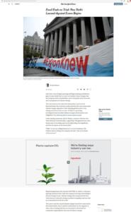 In een artikel over een rechtszaak tegen Exxon vanwege klimaatontkenning, post Exxon een advertentie die laat zien dat Exxon goede intenties heeft met het klimaat. Maar het businessmodel van Exxon is nog steeds 99% olie en gas. En met intenties red je de wereld niet.