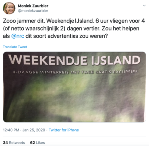 Weekendje Ijsland - fossiele reclame in NRC