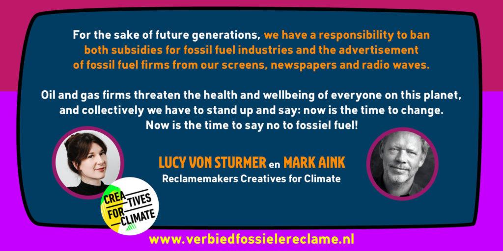 Lucy von Sturmer en Mark Aink - Reclamemakers over verbod fossiele reclame