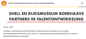 Boerhaave en Shell is fossiele reclame