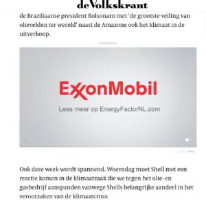 Exxon greenwasht in Volksrkant