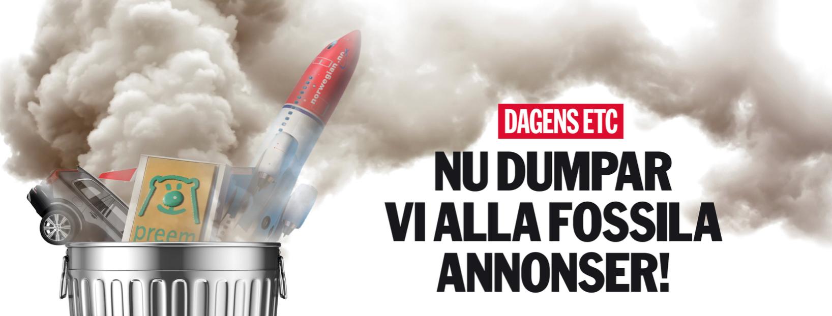Zweedse Krant Dagens ETC weert reclame van de fossiele industrie