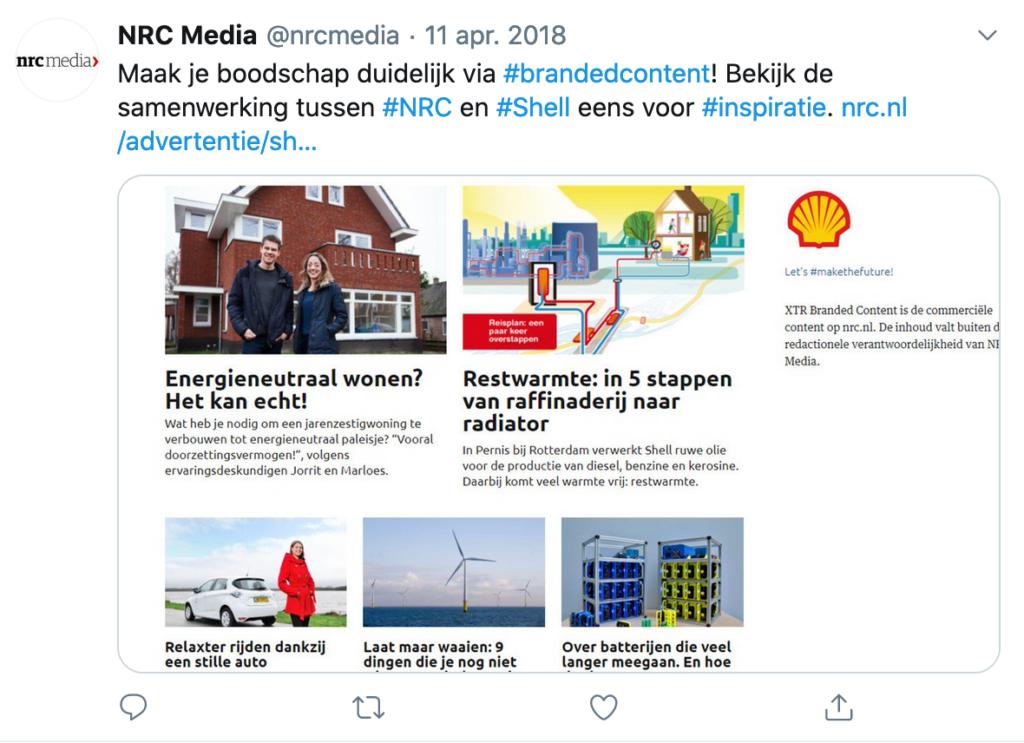 NRC Media twitters voor Shell