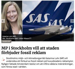 Katarina Luhr wil een reclameverbod in Stockholm