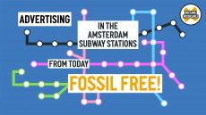 metro subway amsterdam advertising fossil free